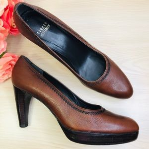 STUART WEITZMAN Brown Leather Platform Pumps 7.5N